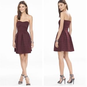 Express berry elastic fit and flare dress